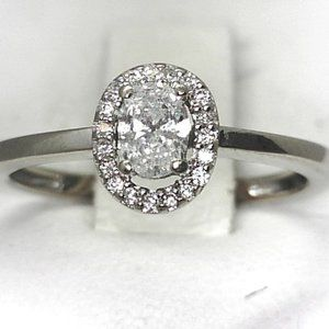 Halo Diamond & 14kt Engagement Ring - Size 5